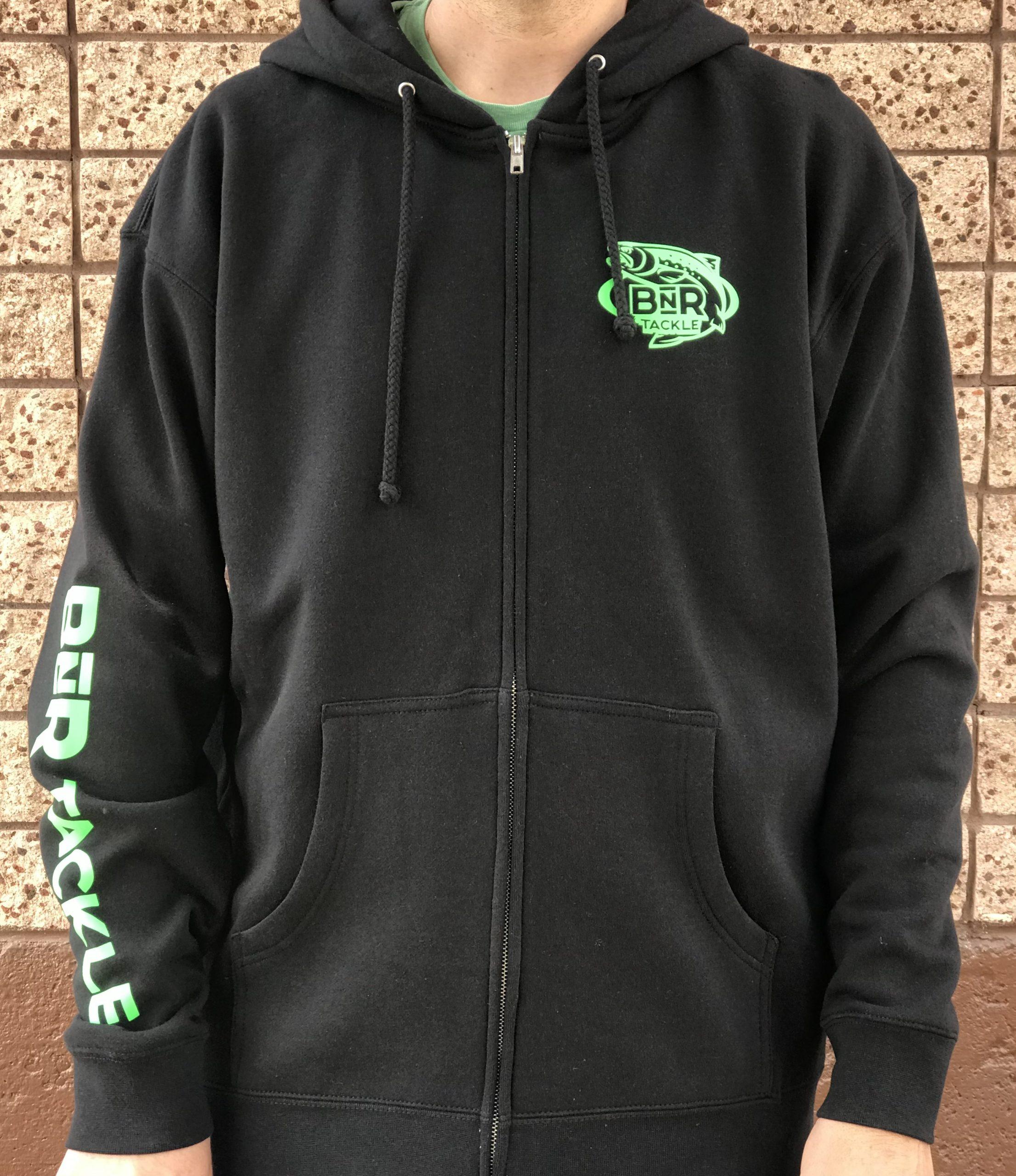 BnR Tackle ZIP UP Hoodie – Black/Neon Green